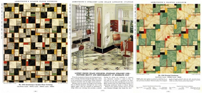 Geometric linoleum patterns and a kitchen design using Armstrong linoleum flooring