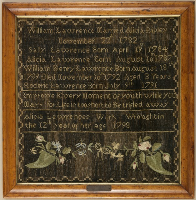 Sampler. Embroidered by Alicia Lawrence. 1798.