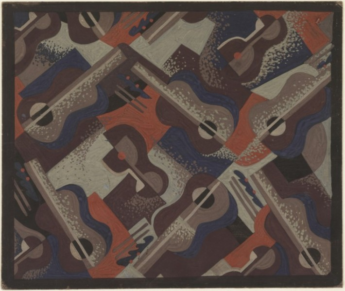 Radio City Music Hall: Carpet Design: Still Life with Violins and Wine Glasses