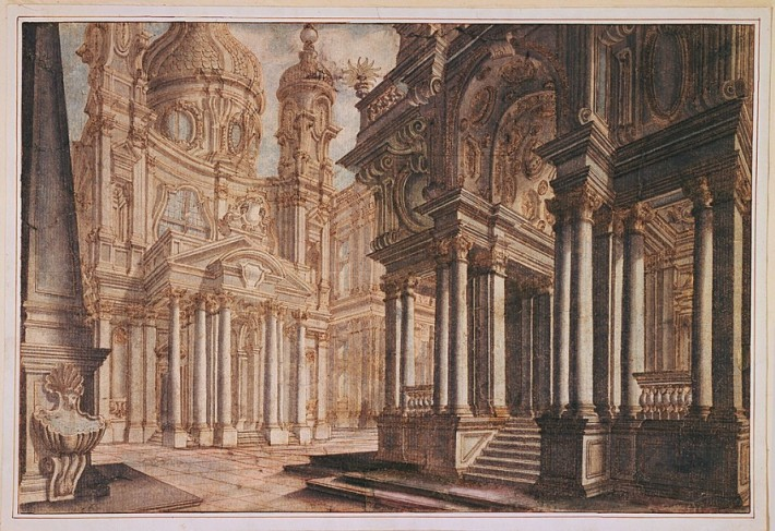 Theater Design: A Town Square. Designed by Francesco Galli Bibiena