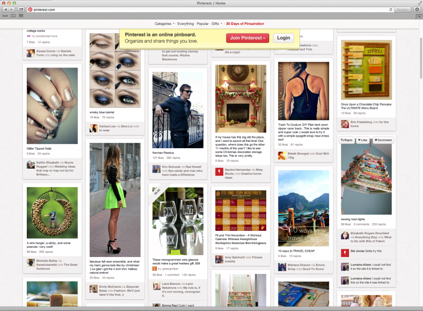 Pinterest homepage