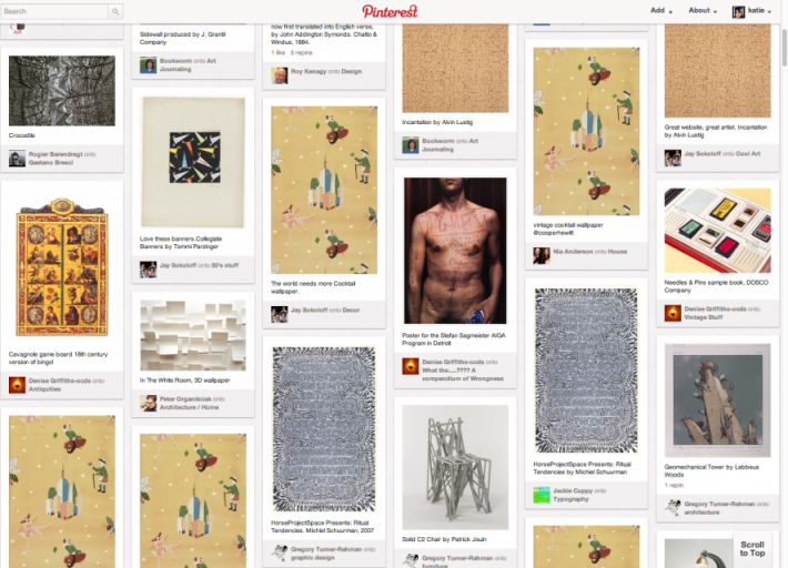 Pinterest activity showing Cooper-Hewitt's collection objects