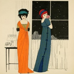 Two women in evening gowns with high waists, draping fabric, and vibrant colors of orange and blue.