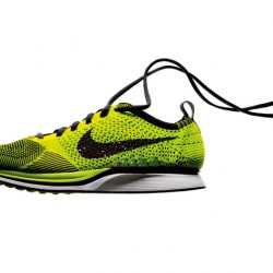 Nike Flyknit racer, designed by Ben Shaffer, manufactured by Nike, Inc.  Photo courtesy of Nike.