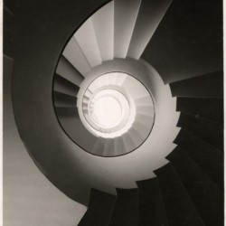 spiral staircase, black and white photograph