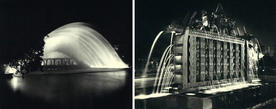 Pont de l'eau and Totems, illuminared fouintains from the Colonial Exposition 1931 Paris