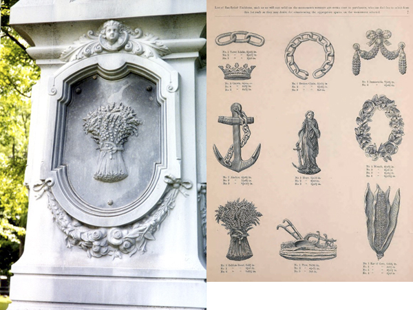 Sheaf of wheat emblem in catalogue and on gravemarker
