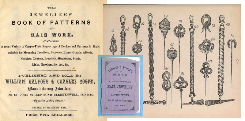 Covers and title pages of hair jewelry pattern books, page of stickpins and bracelets