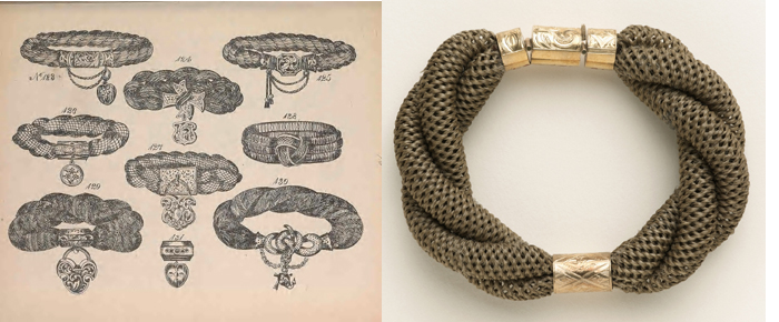 Page of bracelelet patterns from Halford Yound book and woven hair bracelet in museum collection.